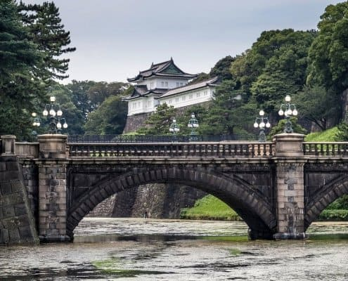 "Nijubashi Bridge (literally ""double bridge"") is one of the most famous spots of the Imperial Palace."
