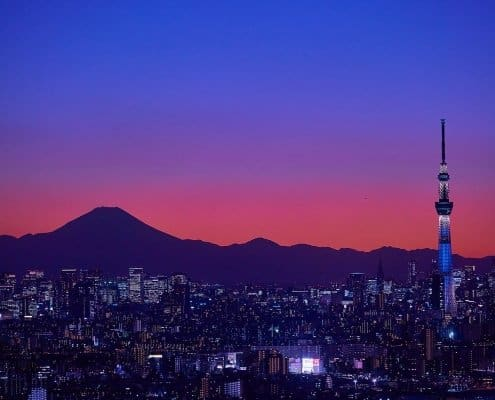 Sunset on Tokyo Skytree and Mount Fuji