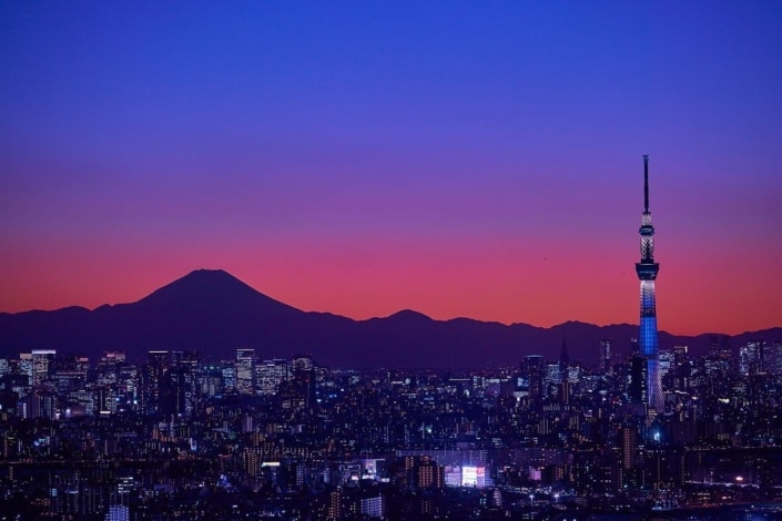 Mount Fuji and Skytree at sunset, Tokyo