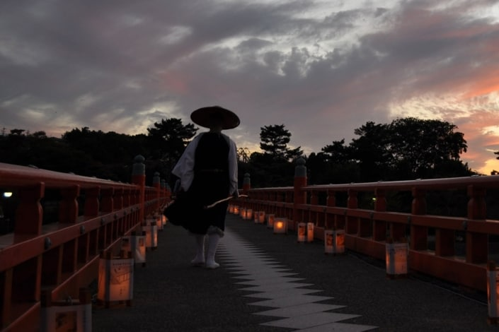 Priest on the Togetsukyo Bridge, Kyoto